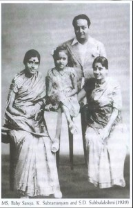 ms with baby saroja and director subramanyam 1939